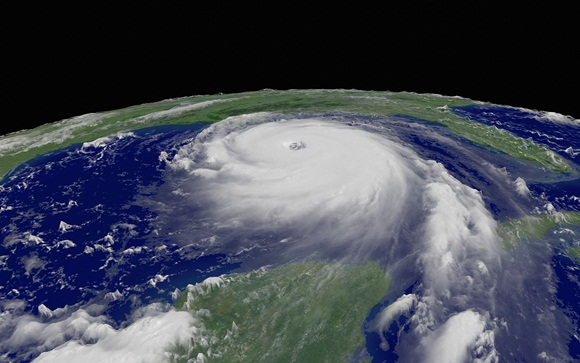 Hurricane Katrina Satellite Image Stock Photo